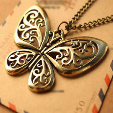 Fashion Golden Women Hollow Butterfly Alloy Chain Pendant Sweater Necklace Gift