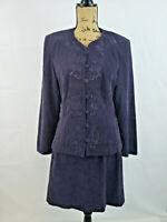 Karin Stevens embroidered Jacket Mini Skirt 2 Piece Purple Skirt suit sz 14 M86