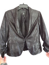 I.N.C BLACK JACKET SMALL SUEDE LOOK POLISHED 3/4 SLEEVES RUCHING RETAIL $129 NEW