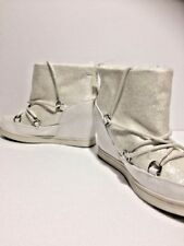 Juicy Couture Womens White Glitter Lace Up Wedge Sport Ankle Boot Size 7 1/2