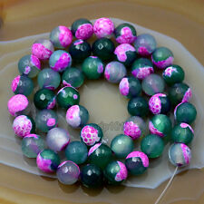 """8mm Faceted Multicolor Agate Round Loose Beads 15"""""""