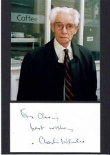 Charles Wheeler TV Journalist Hand signed Card laid to card under photo 8x6