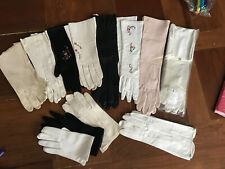 Lot Of 12 Vintage Women's Gloves Kid Long Embroidered