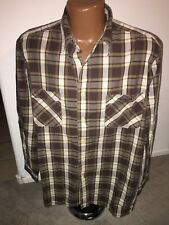 Lucky Brand Dungarees Brown Plaid Long Sleeve Shirt Size Large