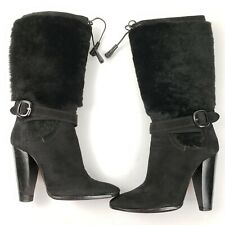 Costume National Black Leather Furry Boots Size 35 5