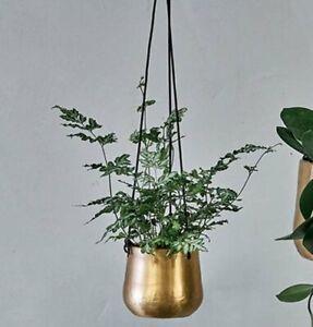 Nkuku ATSU Antique BRASS HANGING PLANTER Plant Pot on String 11cm