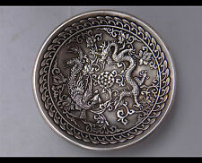 China HANDMADE silver candlestick candle bowl  Dragon & Phoenix