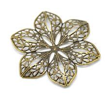 30 Hot Bronze Tone Filigree Flower Wraps Connectors 6x5.3cm