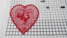 Large,Red Guipure Lace,Applique,Trimmings,Wedding- Heart Motif - 10cm x 9cm