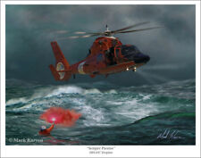 "USCG HH65 ""Dolphin"" Helicopter Aviation Art Print"