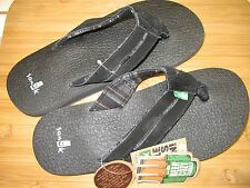 NEW* Sanuk SANDALS FLIP FLOPS SHOES 8.5 9 42 Mens Leather Beer Cozy Black