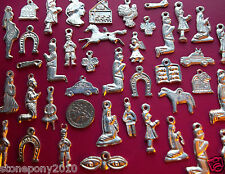50 SILVER Mexican Milagros Shiny Day of the Dead Ex Votos Dijes Miracle Charms