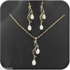 """Conjunto Collar y Pendientes """"Perlas y Zafiros"""" CZ Gold-Filled Oro Amarillo 18K"""