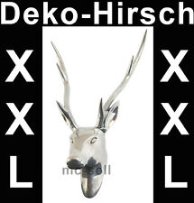 Grosser Hirschkopf aus Aluminium silber Hirschgeweih Hirsch Neu XXL Jagd Geweih