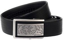 Septwolves Men Belt Real Genuine Leather Auto Lock Buckle Cow Skin Black 1106800