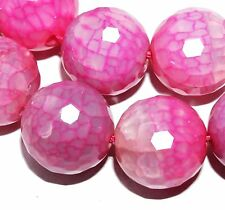 14mm Agate Fire Pink Faceted Round Gemstone Loose Beads 12pc