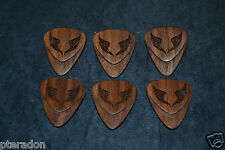 6 Custom Wooden Guitar Picks, Laser Engraved Wing Picks, includes 6 Walnut picks