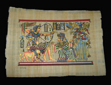 Egyptian Papyrus genuine hand painted King Tut hunting with lion 43x33cm