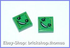 Lego 2 x Fliese grün mit Gesicht 3070bpb112 - Tile Face Bright Green - NEU / NEW