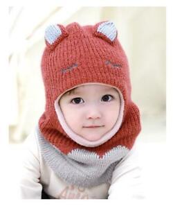 NEW Winter Cute Fleece Knitted Balaclava Kids Boy Girl Face Cover Mask Hat Scarf