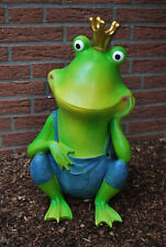 Frosch mit Krone Groß Froschkönig Gartenfigur Dekoration Tierfigur Figur
