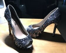 Madeline Girl Beautiful Platform Silver & Gray Sequined Stilettos Size 7M