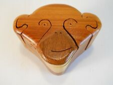 Wooden Monkey Face Trinket Jewelry Puzzle Box With Secret Compartment