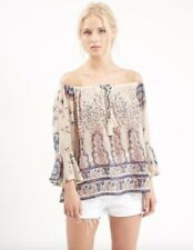 BNWOT TOPSHOP cream paisley print off shoulder chiffon peasant blouse top size 8