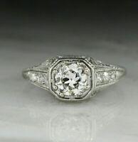 Antique European Ring 3.00Ct Round Diamond 14K White Gold Vintage Art Deco Ring