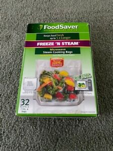 """Food Saver Freeze 'n Steam Microwave Steam Cooking Bags 32-Pack 8.37"""" x 7.5"""" NOS"""