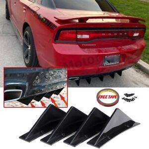 4x Universal Rear Bumper Diffuser Spoiler Lip Splitter Shark Fin Trim Cap Covers