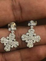 0,92 Cts Rond Brillante Couper Diamants Clous Boucles d'oreilles En 750 18K Or