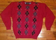 Vintage TOMMY HILFIGER  GOLF Men's Sweater Size Large Long Sleeve Red Black Grey