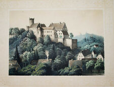c1850 Burg Gnandstein Sachsen Kohren-Sahlis Getönte Lithographie