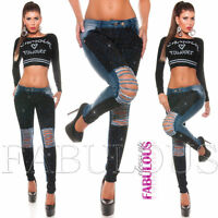 Sexy Women's Skinny Ripped Distressed Lace Jeans Size 6 8 10 12 14 XS S M L XL