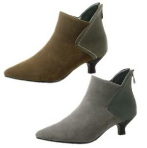 New Women's Faux Suede Ankle Boots Kitten Heel Pointy Toe Comfort Shoes 34-54 D