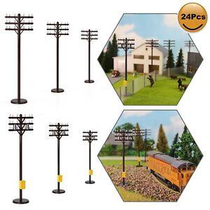 24pcs HO Scale Telegraph Pole 1:87 Power Tel Poles 10.5cm Model Railroad Diorama