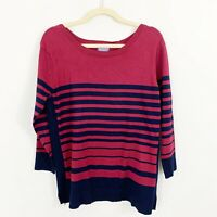 NEW Laura Scott Striped Sweater Size XL Pink Blue 3/4 Sleeves Stretch Rayon