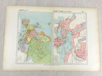 1888 Antique French Map of 14th Century Europe The Ottoman Empire Historical