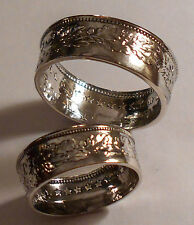 Custom Handmade Ring Wedding Band Set .835 Silver 1 & 2 Franc Coins