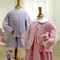 (363) Classic Baby/ Child Cardigans DK Knitting Pattern, 16-26'', 0-6yrs
