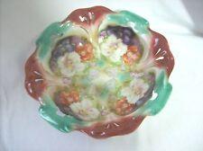 Vintage ~ Pierced Bowl ~ Floral ~ Large ~ Serving Size ~ Maroon & Teal