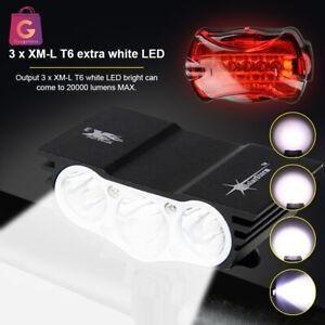 USB Super Bright 20000LM X3 XML LED MTB Bike Headlight Front Lamp Rechargable