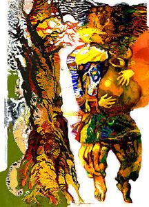 ACEO / Gold Digger /Limited Edition Print of Original Painting by Ljuba Hahonina