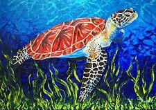 """Wild Sea Turtle 40""""x30"""" original oil painting ocean sealife"""