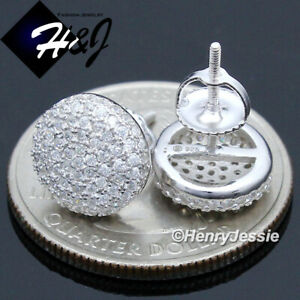 MEN 925 STERLING SILVER 10MM ICY DIAMOND ROUND SCREW BACK STUD EARRING*E144