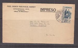 MEXICO, 1943 Censored cover (Free French Philatelic Agency), 2c. Merida to USA