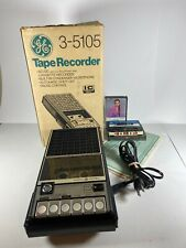 Vintage General Electric Cassette Tape Recorder 3 5105a Black With Box Untested