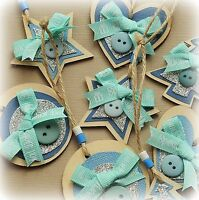 8x Handmade wooden Christmas Decorations Set *FOR A BOY* Heart Tree Circle Star