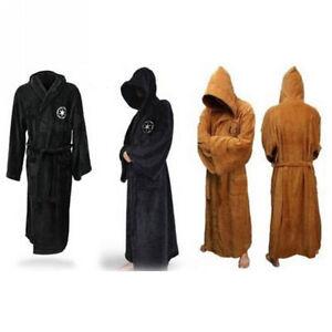 Good Friday  Adult Star Wars Jedi Soft Fleece Hooded Brown Bathrobe Gown Bath